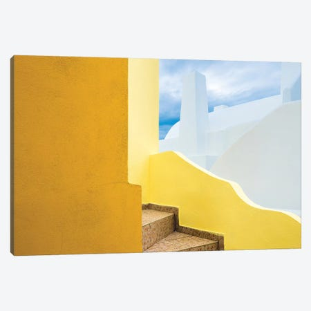 Europe, Greece, Santorini. Stairs And Building Shapes. Canvas Print #JYG921} by Jaynes Gallery Canvas Artwork