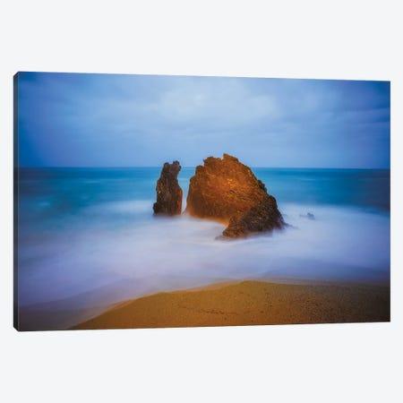 Europe, Italy, Monterosso. Rocks And Ocean Beach. Canvas Print #JYG925} by Jaynes Gallery Art Print