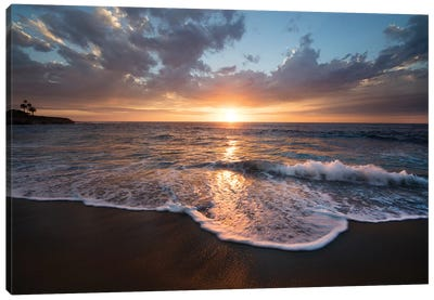 USA, California, La Jolla. Sunset over beach II Canvas Art Print