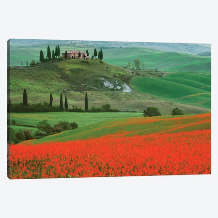 Europe, Italy, Tuscany. The Belvedere Villa Landmark And Farmland. Canvas Print #JYG930} by Jaynes Gallery Art Print