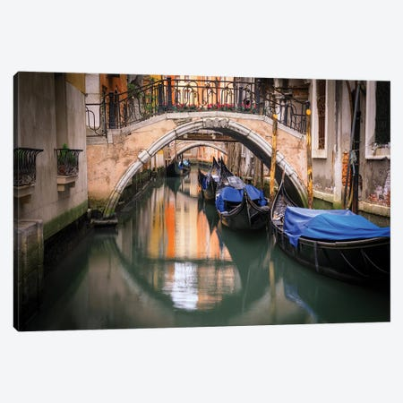 Europe, Italy, Venice. Canal With Gondolas And Bridges. Canvas Print #JYG932} by Jaynes Gallery Canvas Print