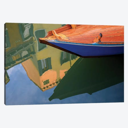 Europe, Italy, Venice. Gondola And Building Reflect In Canal. Canvas Print #JYG934} by Jaynes Gallery Canvas Artwork