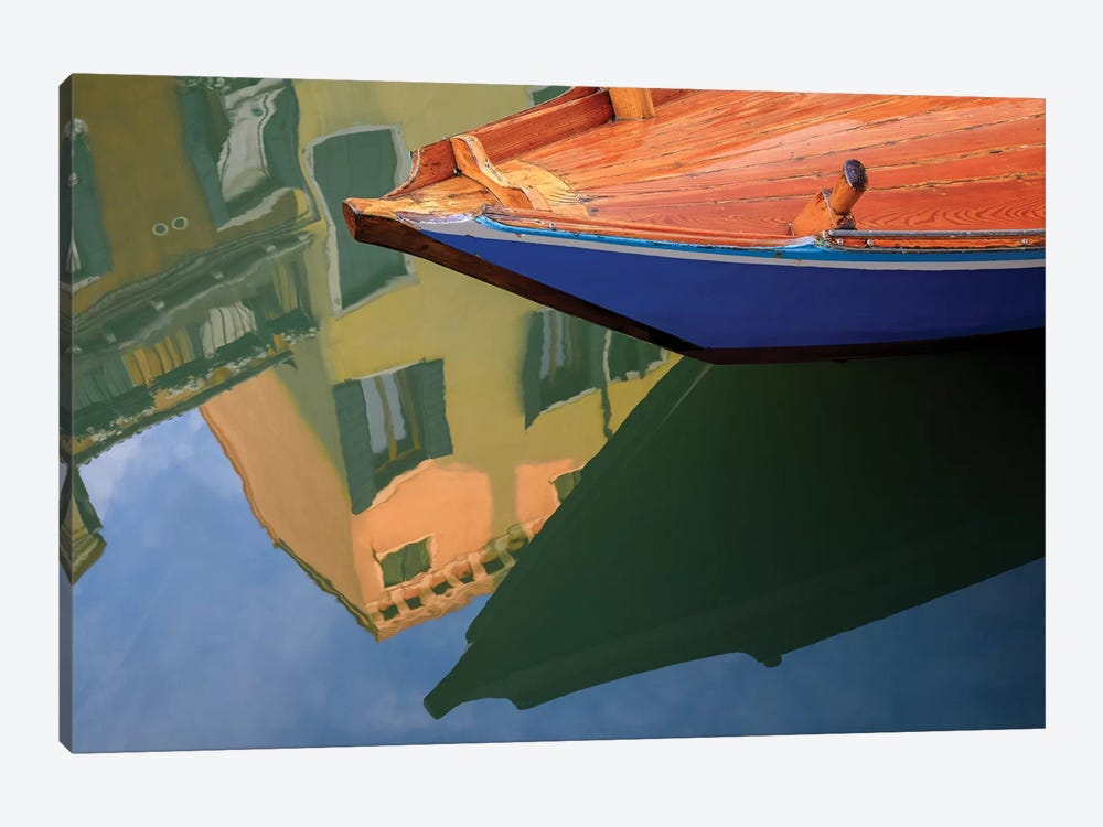 Europe, Italy, Venice. Gondola And Building Reflect In Canal. by Jaynes Gallery 1-piece Art Print