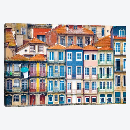 Europe, Portugal, Porto. Colorful Building Facades Next To Douro River. Canvas Print #JYG935} by Jaynes Gallery Canvas Artwork