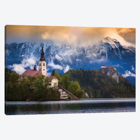 Europe, Slovenia, Lake Bled. Church Castle On Lake Island And Mountain Landscape. Canvas Print #JYG937} by Jaynes Gallery Canvas Wall Art