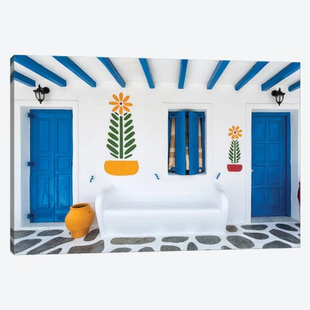Greece, Mykonos. Colorful House Exterior. Canvas Print #JYG949} by Jaynes Gallery Canvas Wall Art