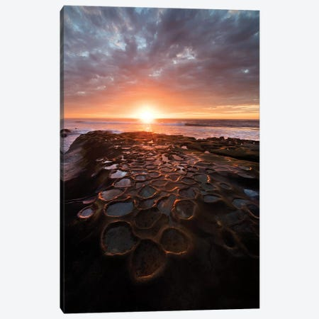 USA, California, La Jolla. Sunset over tide pools. Canvas Print #JYG94} by Jaynes Gallery Canvas Wall Art