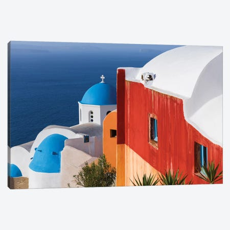 Greece, Santorini, Oia. Colorful House And Church. Canvas Print #JYG951} by Jaynes Gallery Canvas Art Print
