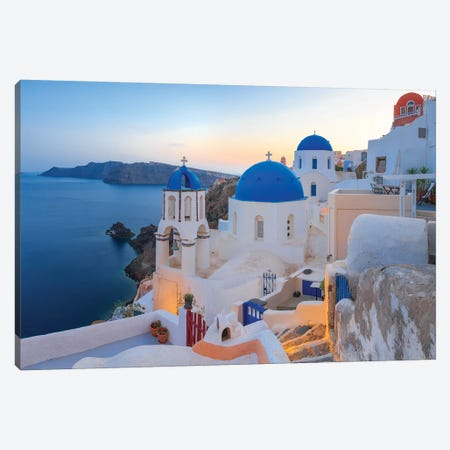 Greece, Santorini, Oia. Sunset On Coastal Town. Canvas Print #JYG952} by Jaynes Gallery Canvas Art Print