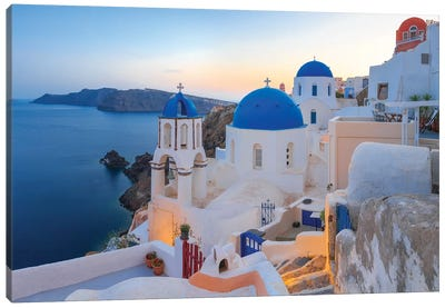 Greece, Santorini, Oia. Sunset On Coastal Town. Canvas Art Print