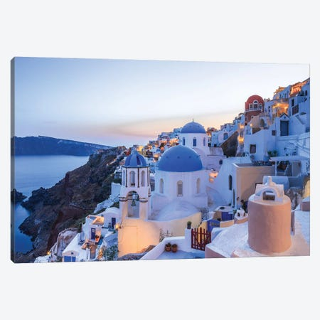 Greece, Santorini, Oia. Sunset On Coastal Town. Canvas Print #JYG953} by Jaynes Gallery Canvas Print