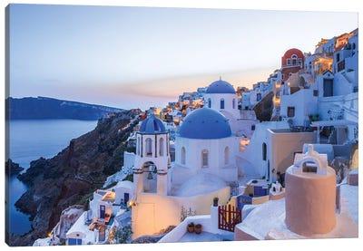 Greece, Santorini, Oia. Sunset On Coastal Town. Canvas Art Print