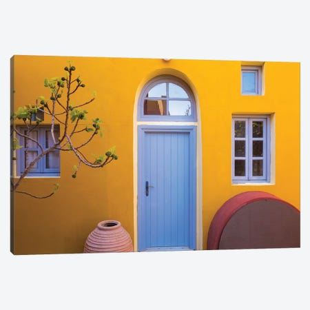 Greece, Thira. Colorful House Exterior. Canvas Print #JYG956} by Jaynes Gallery Canvas Wall Art