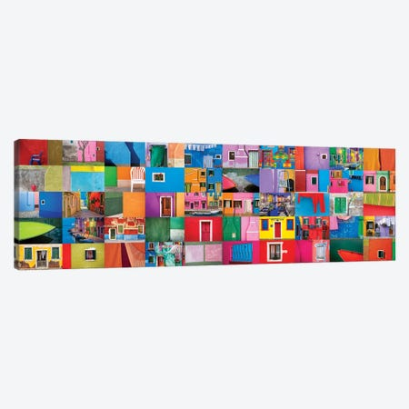 Italy, Burano. Collage Of Colorful Burano Images. Canvas Print #JYG959} by Jaynes Gallery Art Print