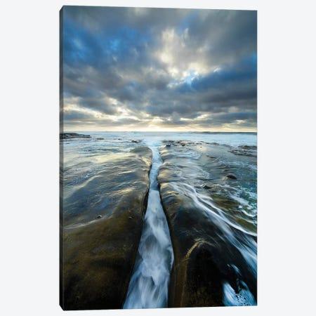 USA, California, La Jolla. Wave flows through cracked sandstone. Canvas Print #JYG95} by Jaynes Gallery Canvas Art