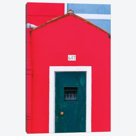 Italy, Burano. Colorful House Exterior. Canvas Print #JYG960} by Jaynes Gallery Canvas Art