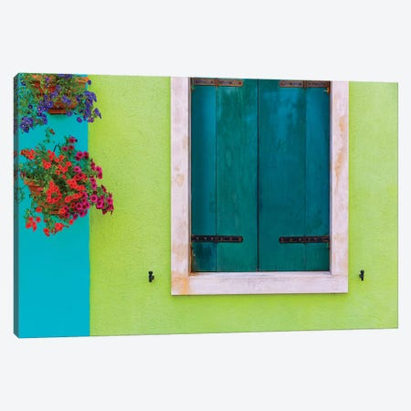 Italy, Burano. Colorful House Wall And Window. Canvas Print #JYG961} by Jaynes Gallery Canvas Art
