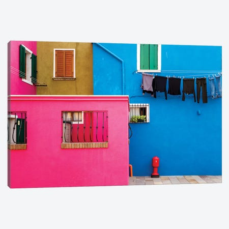 Italy, Burano. Colorful House Walls. Canvas Print #JYG962} by Jaynes Gallery Canvas Wall Art