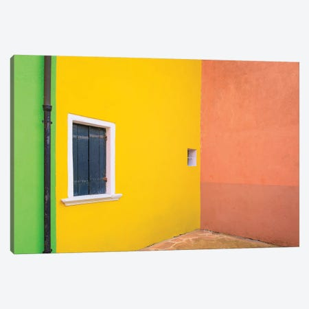 Italy, Burano. Colorful House Walls. Canvas Print #JYG964} by Jaynes Gallery Art Print