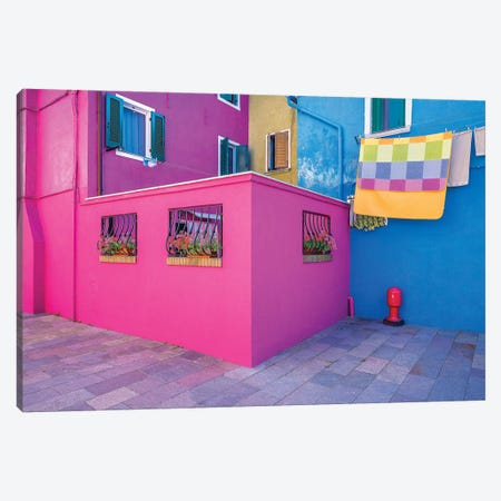 Italy, Burano. Colorful House Walls. Canvas Print #JYG965} by Jaynes Gallery Art Print