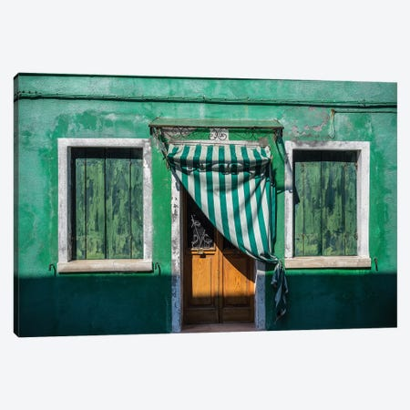 Italy, Burano. Weathered House Exterior. Canvas Print #JYG967} by Jaynes Gallery Canvas Art Print