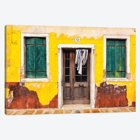 Italy, Burano. Weathered House Exterior. Canvas Print #JYG969} by Jaynes Gallery Canvas Artwork