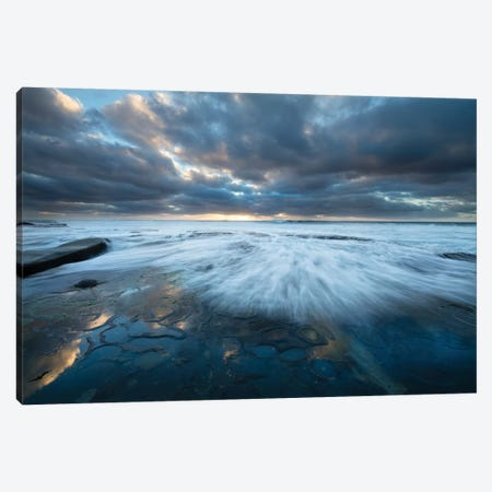 USA, California, La Jolla. Wave washes over tide pools. 3-Piece Canvas #JYG96} by Jaynes Gallery Canvas Wall Art