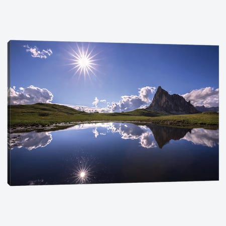 Italy, Dolomites, Giau Pass. Sun Reflection In Mountain Tarn. 3-Piece Canvas #JYG974} by Jaynes Gallery Canvas Artwork