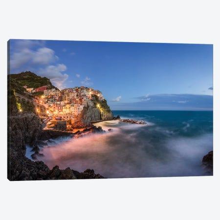Italy, Manarola. Coastal Village And Sea At Sunset. 3-Piece Canvas #JYG976} by Jaynes Gallery Canvas Art