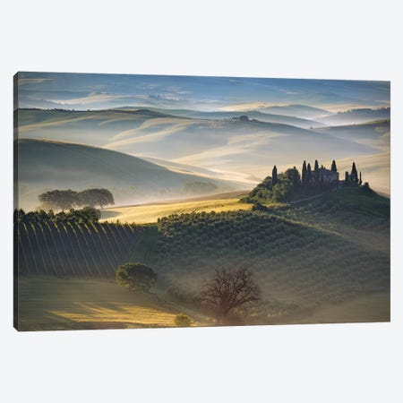 Italy, Tuscany, Val D' Orcia. The Belvedere Farmhouse At Sunrise. Canvas Print #JYG978} by Jaynes Gallery Canvas Art Print