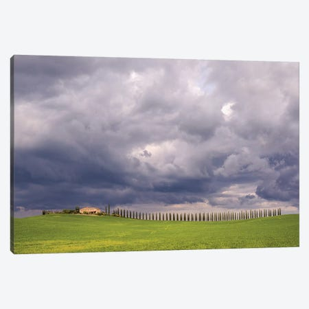 Italy, Tuscany, Val D'Orcia. Farmhouse And Storm Clouds At Sunset. Canvas Print #JYG981} by Jaynes Gallery Canvas Artwork
