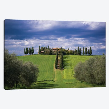 Italy, Tuscany, Val D'Orcia. Farmhouse And Storm Clouds At Sunset. Canvas Print #JYG982} by Jaynes Gallery Canvas Artwork