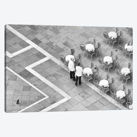 Italy, Venice. Black And White Looking Down On Waiters In San Marco Square From Campanile. Canvas Print #JYG985} by Jaynes Gallery Canvas Art Print