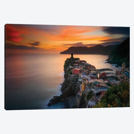 Italy, Vernazza. Overview Of Coastal Town At Sunset. Canvas Print #JYG988} by Jaynes Gallery Canvas Artwork