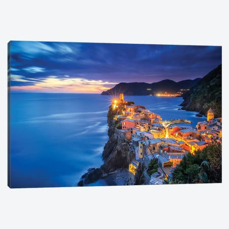 Italy, Vernazza. Overview Of Coastal Town At Sunset. Canvas Print #JYG989} by Jaynes Gallery Canvas Art