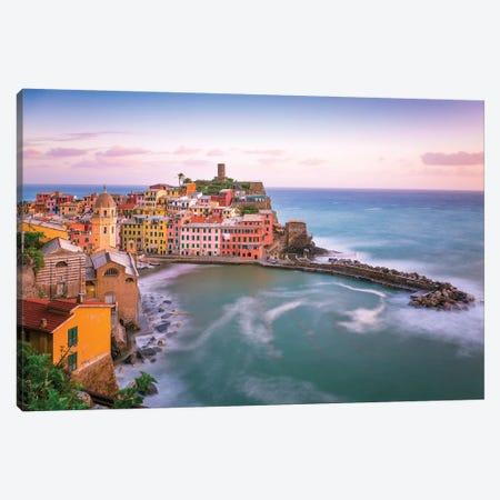 Italy, Vernazza. Overview Of Coastal Town. Canvas Print #JYG990} by Jaynes Gallery Canvas Art Print