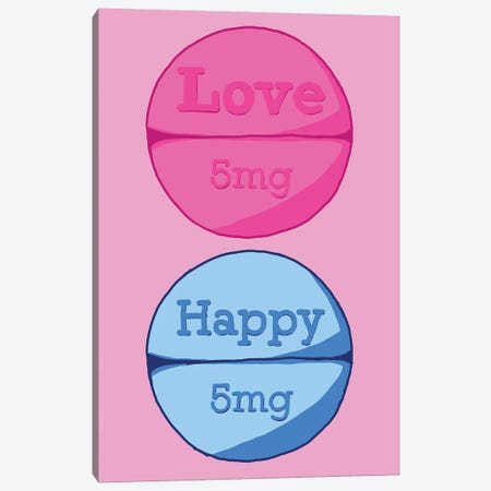 Love Happy Pill Pink Canvas Print #JYM101} by Jaymie Metz Canvas Art