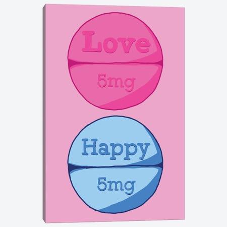 Love Happy Pill Pink Canvas Print #JYM101} by Jaymie Metz Canvas Art