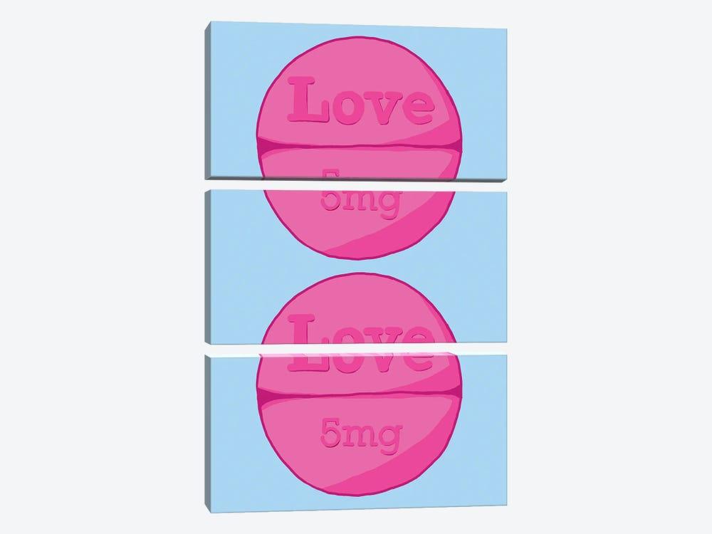 Love Love Pill Blue by Jaymie Metz 3-piece Canvas Print