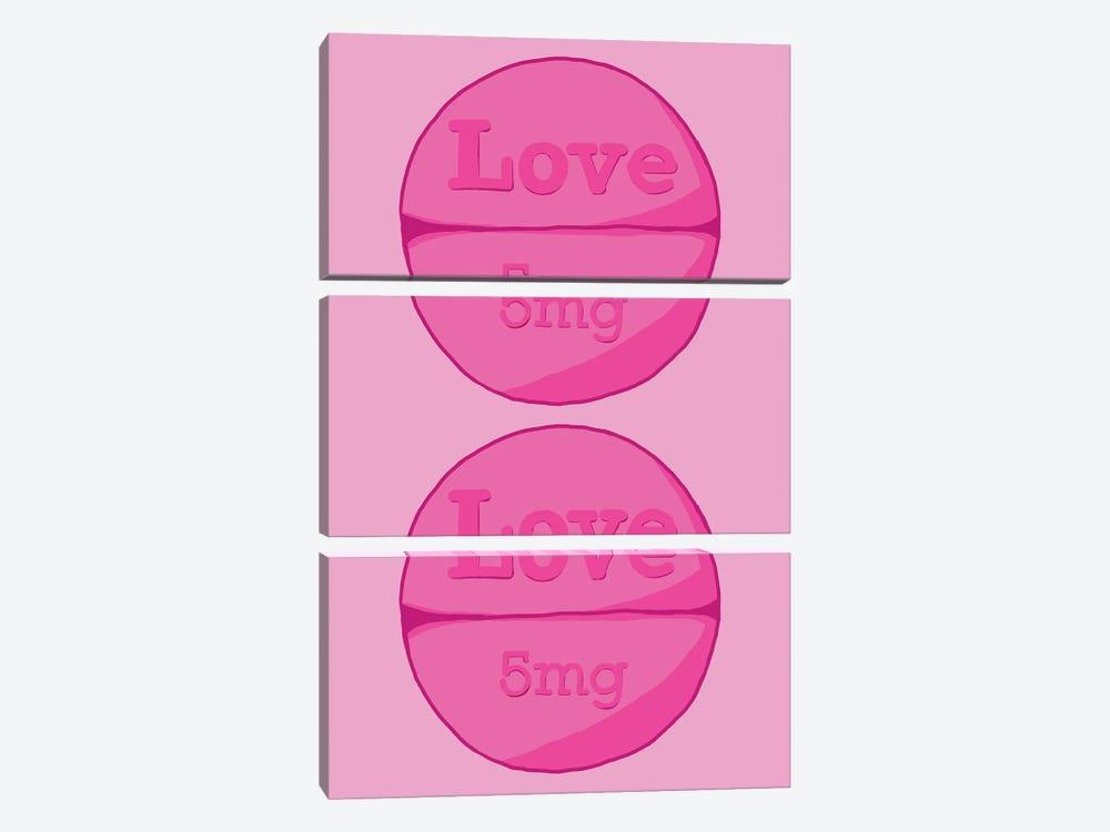 Love Love Pill Pink by Jaymie Metz 3-piece Canvas Artwork