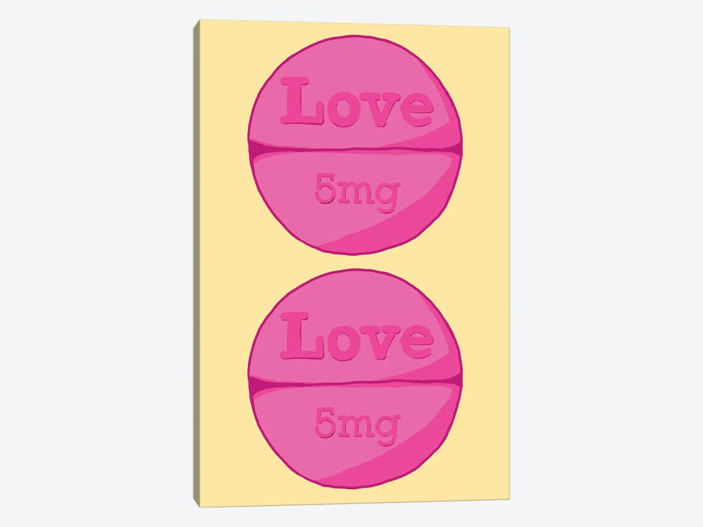 Love Love Pill Yellow by Jaymie Metz 1-piece Canvas Art Print