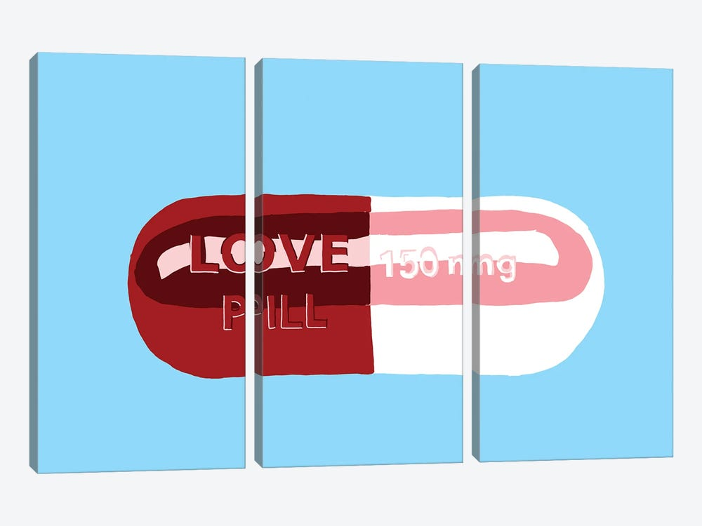 Love Pill Blue 3-piece Canvas Art
