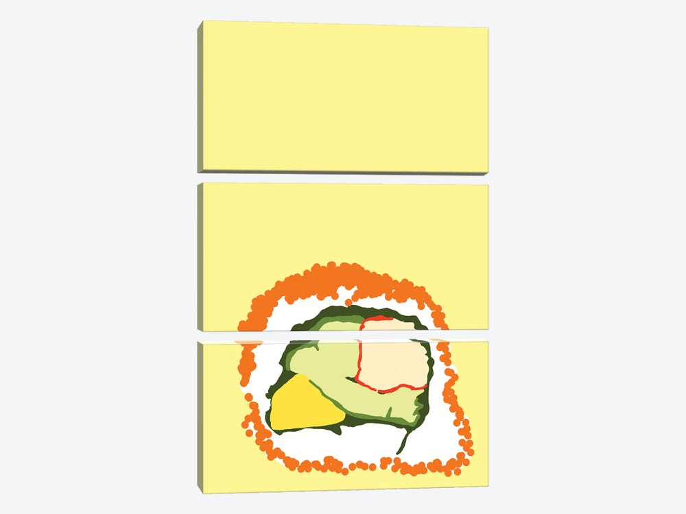 Orange Sushi Roll by Jaymie Metz 3-piece Canvas Art Print
