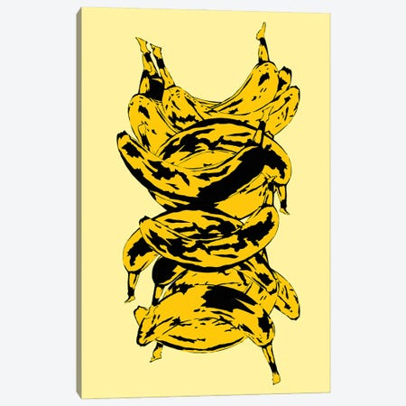 Band Of Bananas Yellow Canvas Print #JYM11} by Jaymie Metz Art Print