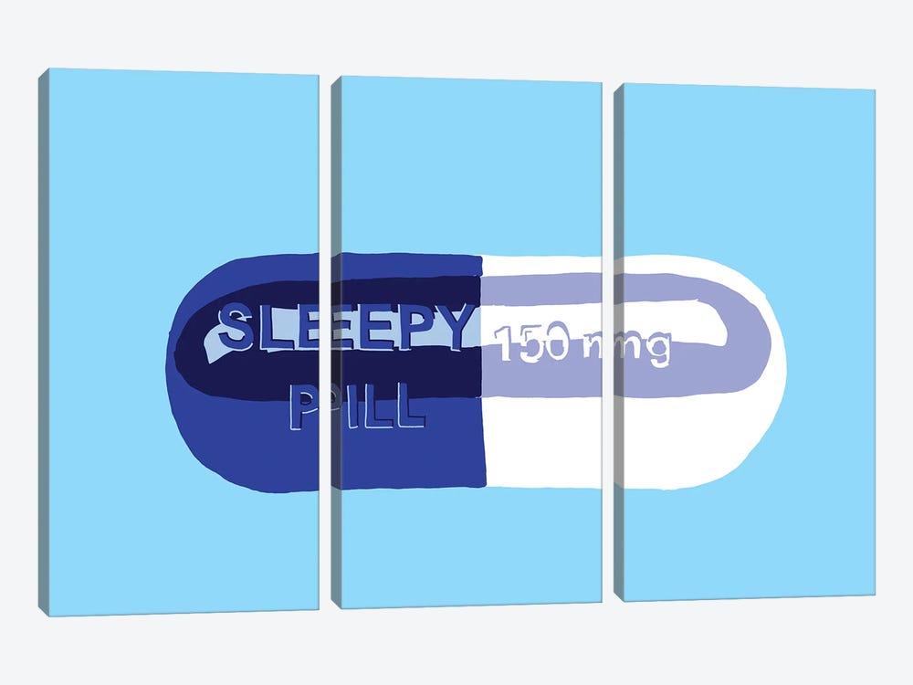 Sleepy Pill Blue by Jaymie Metz 3-piece Canvas Artwork