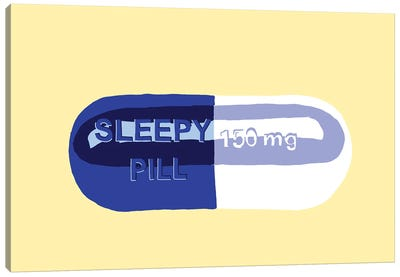 Sleepy Pill Yellow Canvas Art Print