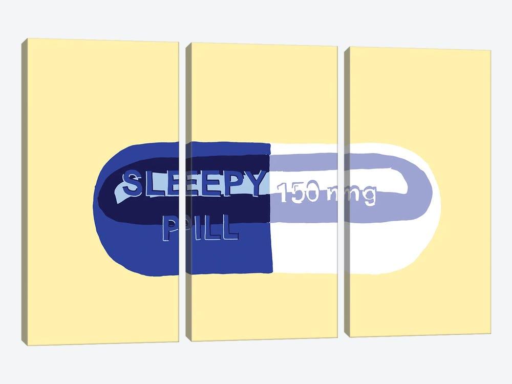 Sleepy Pill Yellow by Jaymie Metz 3-piece Canvas Wall Art