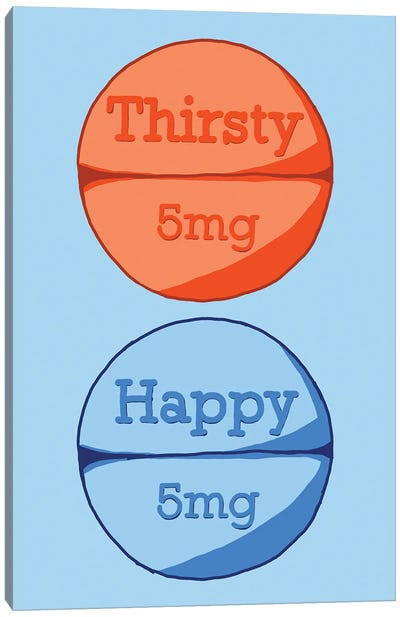 Thirsty Happy Happy Pill Blue Canvas Art Print