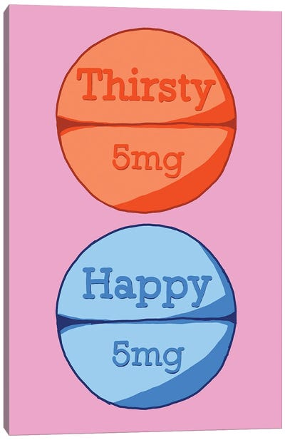 Thirsty Happy Pill Pink Canvas Art Print