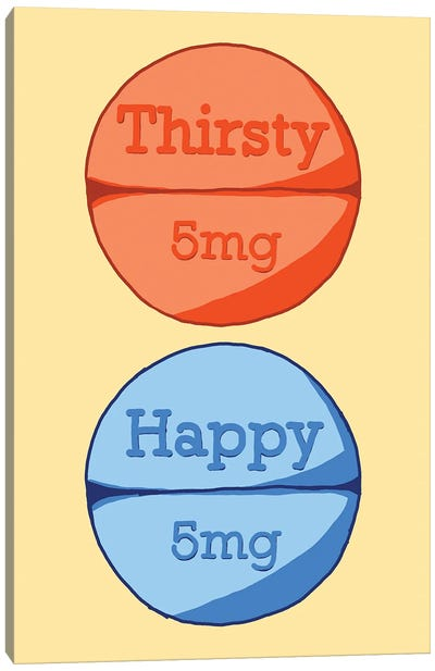 Thirsty Happy Pill Yellow Canvas Art Print